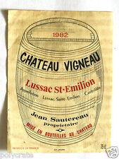 Étiquette de vin Château Vigneau Lussac Saint Emilion Sautereau 1982