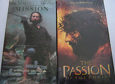 The Passion of the Christ (sealed) and The Mission (used) Vhs video movie set.