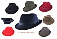 Trilby Fedora Hat Handmade 100%Wool  VGT Style Grosgrain Band -Many Colours -UK