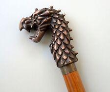 "Rare Bronze Antique Hardwood Carved Dragon Head Walking Stick Cane 36"""