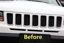 Chrome Front Mesh Grille vent Mesh Bezel Cover trims For jeep compass 2011-16