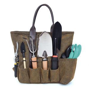 Waterproof Double Handle Canvas Gardening Tote Tool Bag Outdoor Storage Carrier
