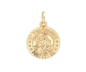 14K Yellow Gold Saint Christopher Protect Us Medallion Pendant