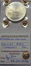 ITALIA REPUBBLICA 1981 500 LIRE CARAVELLE DA DIVISIONALE ZECCA FDC SIGILLATA