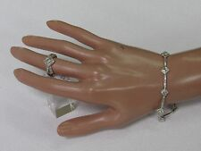 "14K White Gold Women's Diamond Shape Diamond Link 7"" Bracelet Set With Ring 6.5"