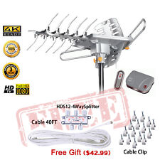 HD-2605 HDTV Indoor/Outdoor Amplified Antenna HDTV Rotor UHF/VHF/FM +free kit