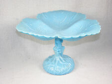 Vintage Pressed Blue Opaque Glass THREE LEAF Compote