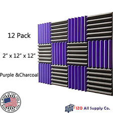 "2""x12""x12"" PURPLE/CHARCOAL Acoustic Wedge Studio Soundproofing Foam 12 Pack 6T"