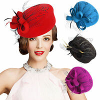 Embroidered Womens Girl Veil Netting Wool Felt Fascinator Pillbox Hat Party A140