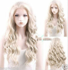 The fashion Heat Resistant Long Curly Wavy Light Ash Blonde Hair Wig+gift