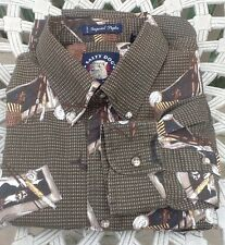 Gant Salty Dog L/S Button SHIRT Fishing Hooks Tackle Olive Green Brown L Cotton