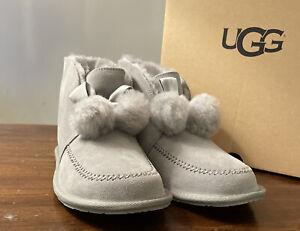 UGG Kallen Suede Sheepskin Moc Seal Pom Pom Bootie Slippers Woman's Sz 6 1110709