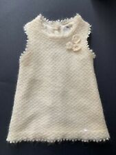 Baby Dior Ivory Mohair A-Line Dress With Crochet Flower Detail Silk Lining 12M