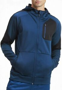 Puma evoStripe Warm Full Zip Mens Hoody Blue Stylish Gym Training Workout Hoodie