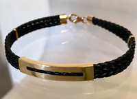18K Yellow Gold 750 Man´s Leather cord Bracelet 7mm