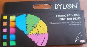 Dylon Fabric Painting Fine Nib Pens - Fluorescent
