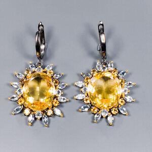 Citrine Earrings Silver 925 Sterling 40 ct+ IF GEM  /E42288