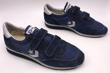 Vintage 80s Converse Running shoes Men's 6.5 Women 8.5 double strap Blue Suede