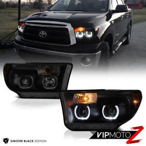 For 07-13 Toyota Tundra [TRD STYLE] Angel Eye LED DRL Headlights SINISTER BLACK