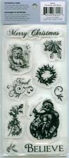 CLOUD 9 Rubber Cling Stamps XMAS 66044 VINTAGE CHRISTMAS SANTA BELIEVE NOEL BELL