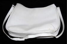 Francesco Biasia Split Calf White Leather Shoulder Bag w/ Turtle Lining Italy