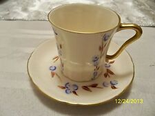 ANTIQUE  1940's ART DECO ROSE CROWN HAND PAINTED CHINA DEMITASSE CUP AND SAUCER