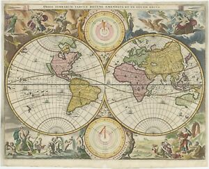 Antique Map of the World by Stoopendaal (1682)