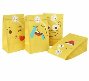 12 x Emoji Paper Bag Party Favour Treat Gift Candy Bag Lolly