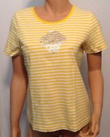 ONQUE CASUALS Women's Striped Tee Size Medium Short Sleeve YELLOW/WHITE