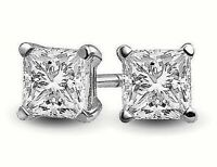 .25 ct. White Sapphire Princess Cut Stud Earrings in Solid Sterling Silver - A++