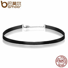 Bamoer Black Classic Choker Necklace Webbing Collar with 925 silver lock Jewelry