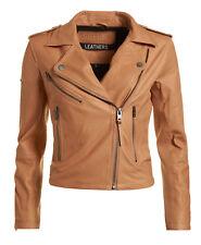 Nuevos damas Superdry chaqueta Lux moto tostado m
