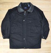 Black Wool Park Avenue Coat Leather Collar Jacket Peacoat GANT USA Lined Large