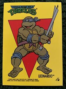 1989 Topps Teenage Mutant Ninja Turtles Sticker Card #4 Leonardo BRAND NEW
