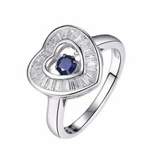 Newshe Gemstone Ring Round Dancing Blue Sapphire 925 Sterling Silver AAA Cz Sz 6