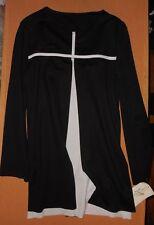 NWT Sisterly Grace Praise Wear 85062 Strength Long Sleeve Tunic Black/White XLC