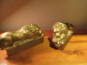 Lion bookends figurine gold colored Antonio Canova PAIR sculpture