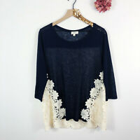 UMGEE Women's Tunic Top Blose 3/4 Sleeve Ivory Floral Lace Navy Blue Size S