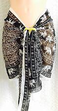 Ladies SARONG Black/White Mandala Elephant CHIFFON new UK Seller