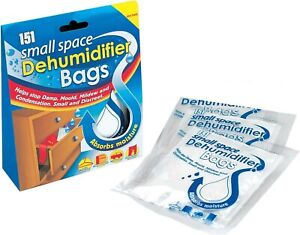 151 Small Space Dehumidifier Bags 2 Sachets Stop Damp Mould Condensation Helps