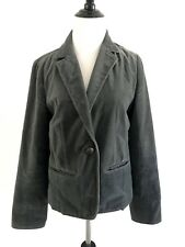 J Crew Womens Size 8 Green Velour Blazer One Button Single Breasted Velvet