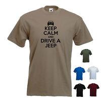 'Keep Calm and Drive a Jeep' (Car Logo)  Cherokee Wrangler  Funny T-shirt
