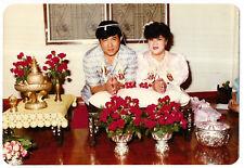 Vintage 80s PHOTO Asian Buddhist Wedding Couple At Ceremony