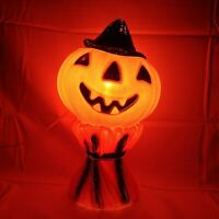 "Halloween Blow Mold Empire Jack O Lantern On Haystack Pumpkin 1969 Vintage 14"""