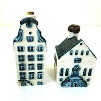 2 Pcs Rynbende Distilleries Blue Delft House #14 & #4 for KLM Airlines Holland