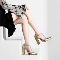 Womens Patent Leather Block High Heels T-Strap Pointed Toe Elegant Pumps Shoes