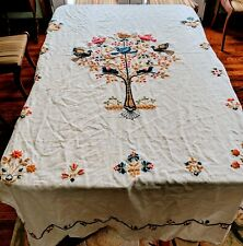 Vintage Linen Bedspread Hand-embroidered For Double Bed