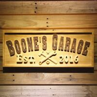 wpa0350 Name Personalized GARAGE EST. Year Man Cave Gifts Wooden Sign