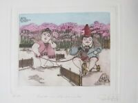 GUILLERMO SILVA Rare Kyoto Japan Hand-Colored Etching Children Kids Playing 60s