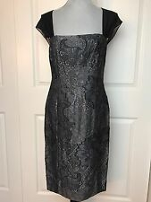 NWT $798 Women WORTH NY Designer Gunmetal Burnout Jacquard Sheath Dress Size 16